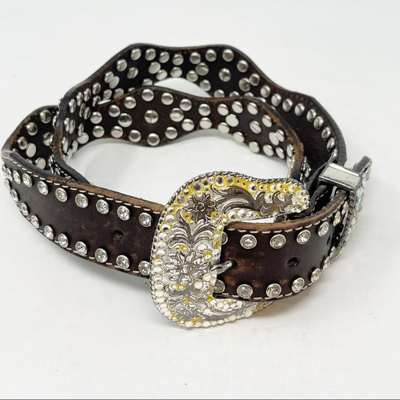 NOCONA Women's Brown Leather Jeweled Bling Belt